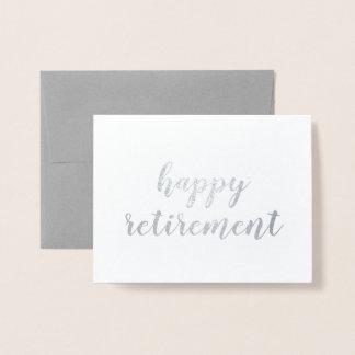 Happy Retirement Silver Foil Brush Brushstroke Foil Card