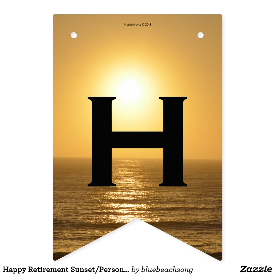 Happy Retirement Sunset/Personalize Bunting Flags