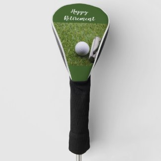 Happy Retirement to golfer with golf ball & putter Golf Head Cover