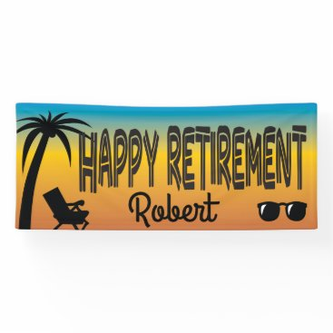 Happy Retirement with beach chair and palm tree Banner