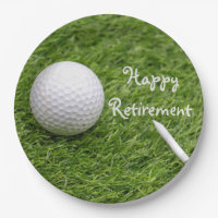 Happy Retirement with golf ball and tee on grass Paper Plate