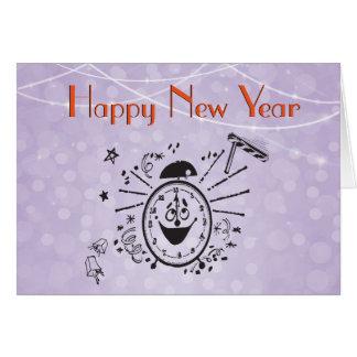 Happy Retro Clock Celebrates New Year's Eve Card