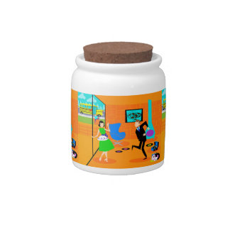 Happy Retro Parents Candy Jar