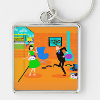 Happy Retro Parents Keychain