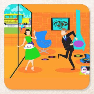 Happy Retro Parents Paper Coaster