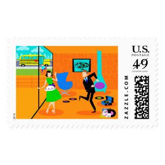 Happy Retro Parents Postage Stamps