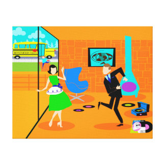 Happy Retro Parents Stretched Canvas Print