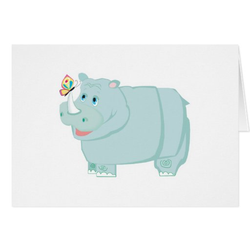 happy rhino with butterfly card