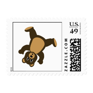 Happy Right Tumbling Brown Bear Postage Stamp