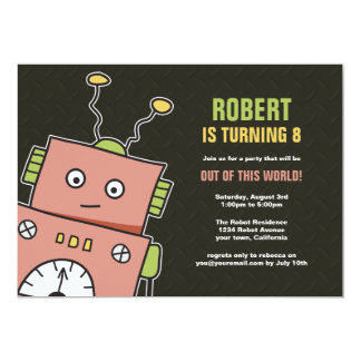 "Happy Robot Birthday Party Invitations 5"" X 7"" Invitation Card"