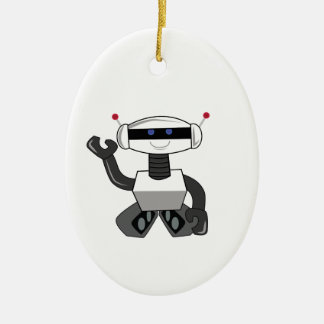 Happy Robot Ceramic Ornament