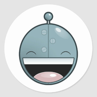 Happy Robot Classic Round Sticker