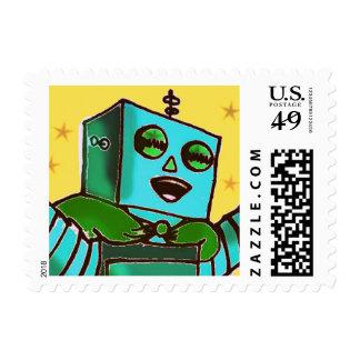 Happy Robot Comic Art Stamps