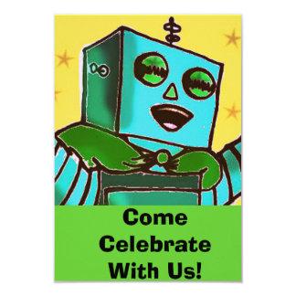 Happy Robot Comic Style Celebration Invitation