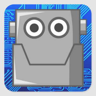 HAPPY ROBOT HEAD SQUARE STICKER