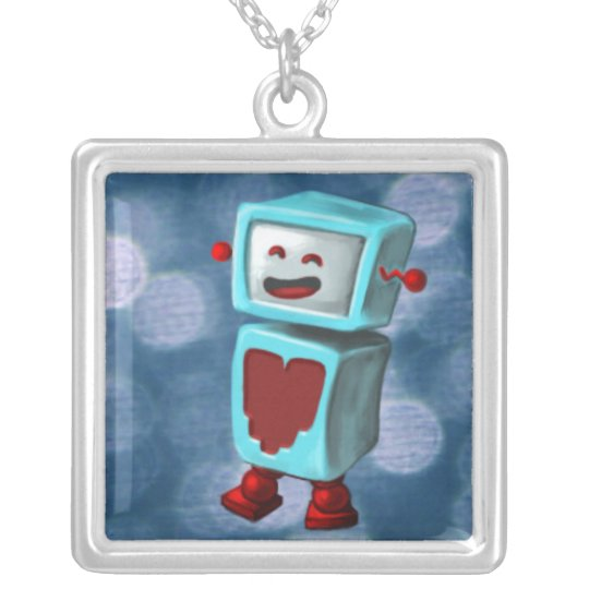 Happy Robot Loves You! Silver Plated Necklace