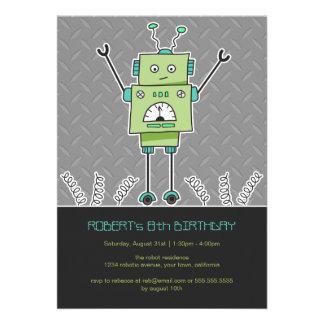 Happy Robot Springs Kids Birthday Party Invites