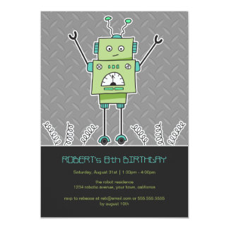 "Happy Robot & Springs Kids Birthday Party Invites 5"" X 7"" Invitation Card"