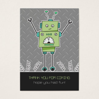 Happy Robot & Springs Party Favor Thank You Cards