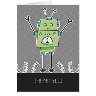 Happy Robot & Springs Thank You Note Card