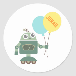 Happy Robot with Balloons for kids Classic Round Sticker