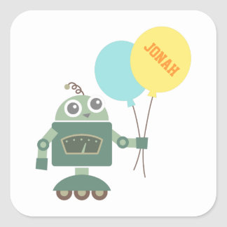 Happy Robot with Balloons for kids Square Sticker