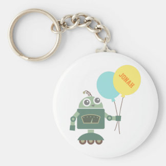 Happy Robot with Balloons Kids Personalized Keychain