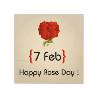 Happy Rose day Wood Wall Art