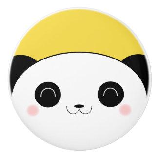 Happy Rosy Cheeked Kawaii Panda Face Ceramic Knob