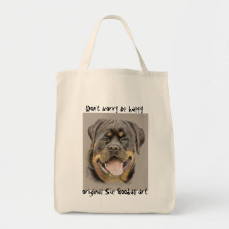 Happy Rottie Grocery Tote Bag