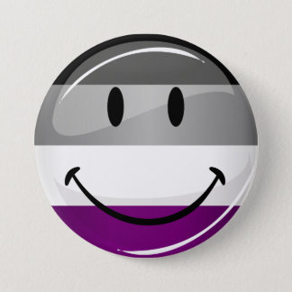 Happy Round Asexual Flag Button