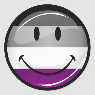 Happy Round Asexual Flag Classic Round Sticker