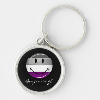 Happy Round Asexual Flag Keychain