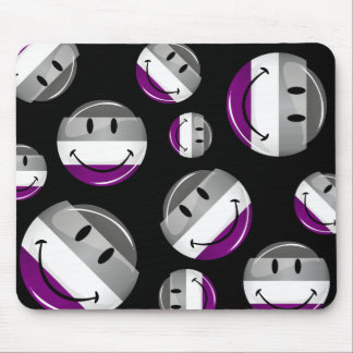 Happy Round Asexual Flag Mouse Pad
