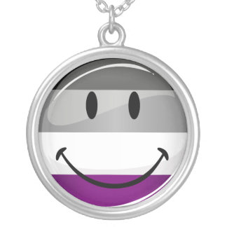 Happy Round Asexual Flag Round Pendant Necklace