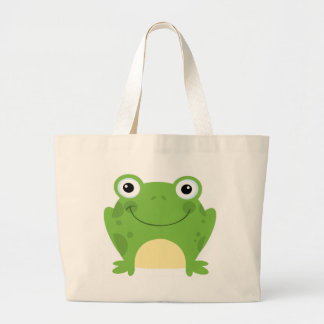 Happy Round Frog Large Tote Bag