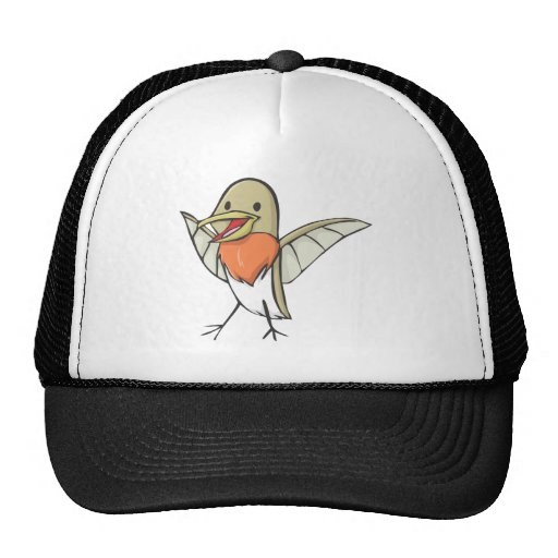 Happy Ruby Throated Hummingbird Cartoon Trucker Hat