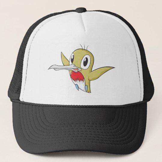 Happy Ruby Throated Hummingbird Cartoon Trucker Hat