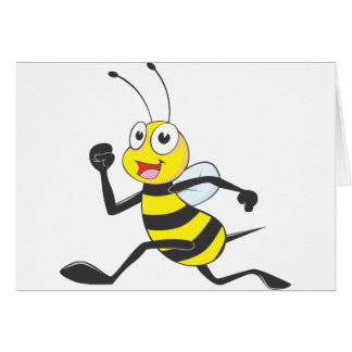 Happy Running Bee Greeting Cards