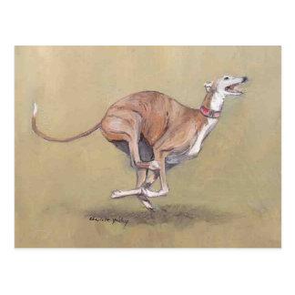 Happy Running Greyhound Dog Art Postcard