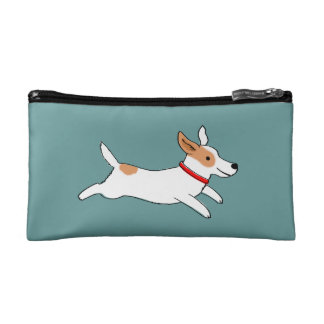 Happy Running Jack Russell - Color Customizable Cosmetic Bags