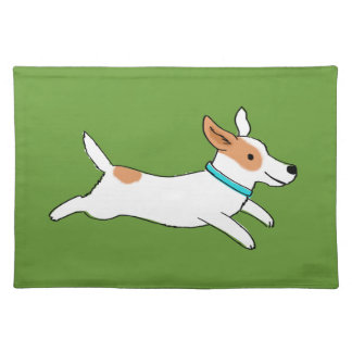 Happy Running Jack Russell Terrier Cartoon Dog Placemat