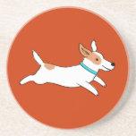 Happy Running Jack Russell Terrier Cartoon Dog Sandstone Coaster