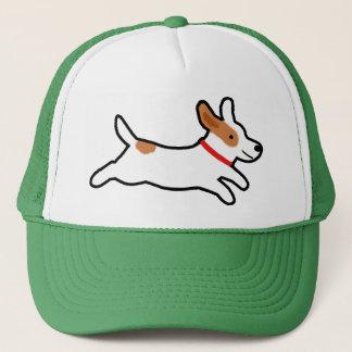 Happy Running Jack Russell Terrier Cartoon Dog Trucker Hat