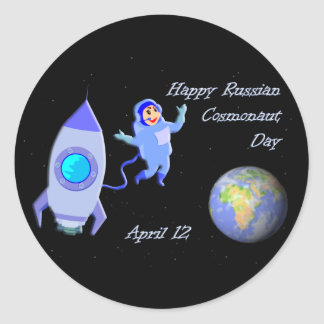 Happy Russian Cosmonaut Day April 12 Classic Round Sticker