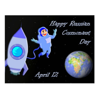 Happy Russian Cosmonaut Day April 12 Postcard