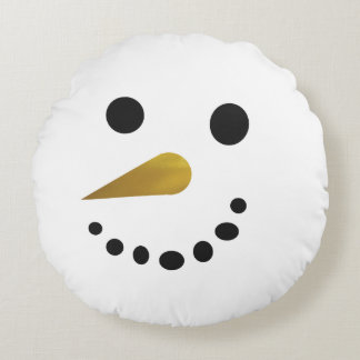 Happy Sad Snowman Holiday Pillow / Gold Nose