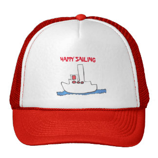 """HAPPY SAILING"" TRUCKER HAT WITH SAILBOAT DESIGN"