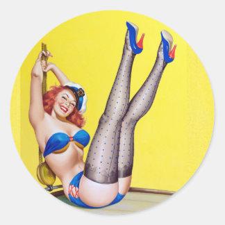 Happy Sailor Pin Up Classic Round Sticker