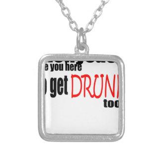 happy saint patrick day irish dionysus drunk square pendant necklace